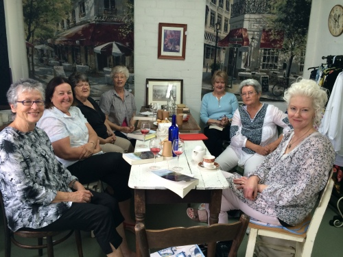 With Tracy Bock's lovely book club at her Paris Cafe in Guildford