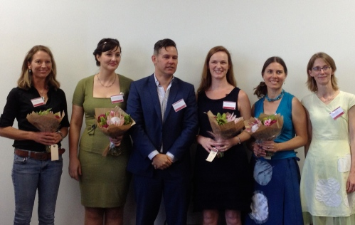 Portland Jones, Mihaela Nicolescu, Fremantle Mayor Brad Pettitt, Louise Allan, Nicole Sinclair, Fremantle Press fiction publisher Georgia Richter