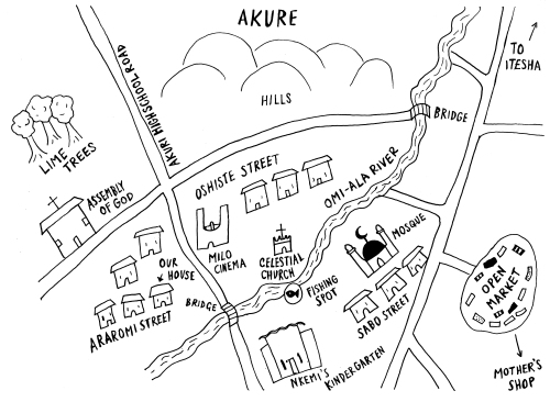 Map of Azure as it appears in the novel, sketched by Benjamin, the narrator