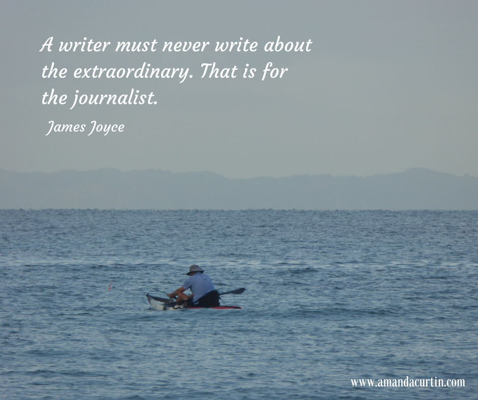A writer must never write about the extraordinary. That is for the journalist.