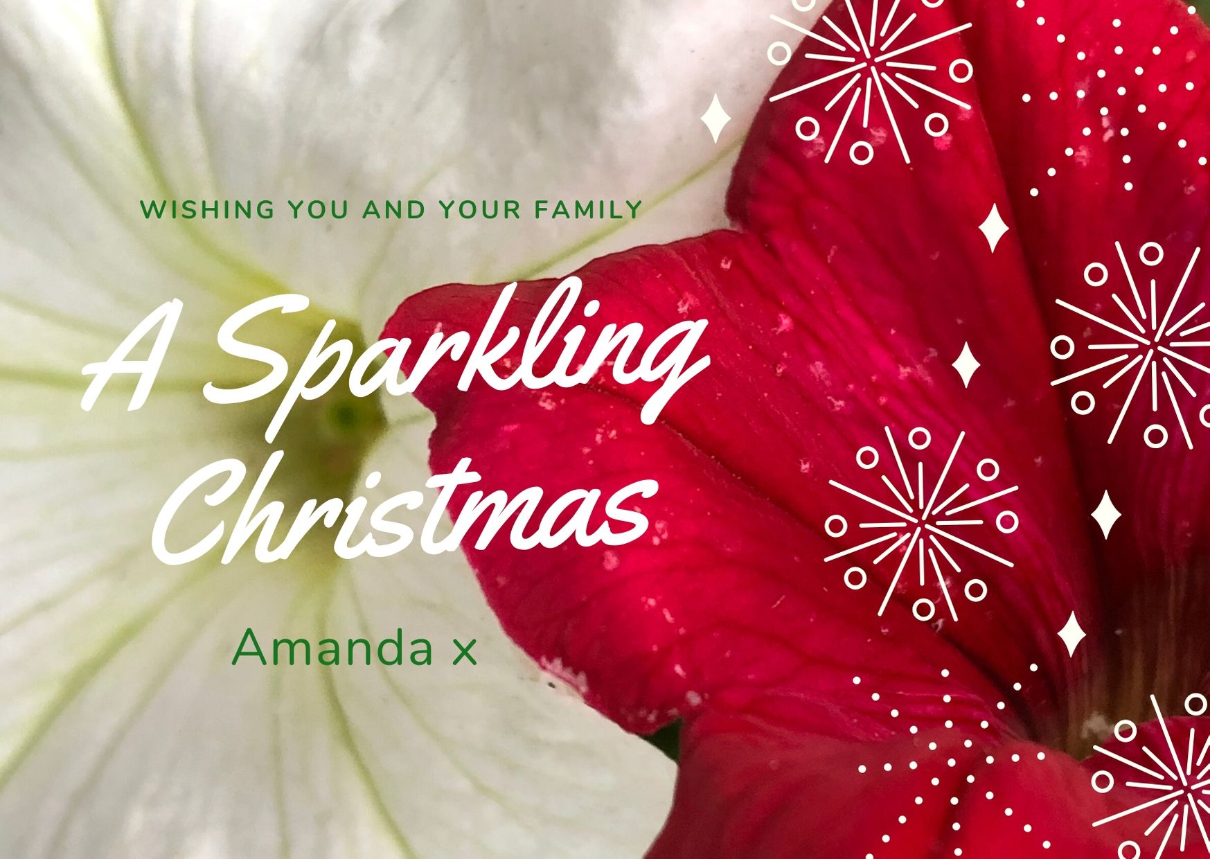 Teal White Sparkle Christmas Card
